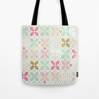 moroccan Tote Bags featuring MOROCCAN TILE by Monika Strigel