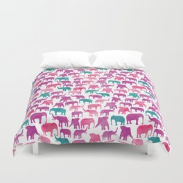 Watercolor Elephant Stampede Pretty Pattern Duvet Cover