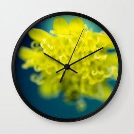 Underwater Munching Bee - Macro of a Yellow Flower Wall Clock