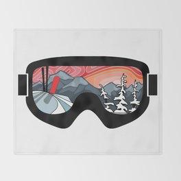 Snow Sport Sunset   Ski and Snowboard Series   DopeyArt Throw Blanket