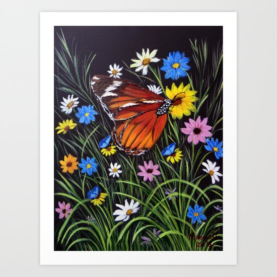 wild flowers and Butterflies Art Print