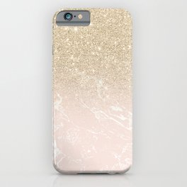Modern champagne glitter ombre blush pink marble pattern iPhone Case