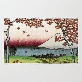 Utagawa Hiroshige Sunset Hill, Meguro in the Eastern Capital Rug