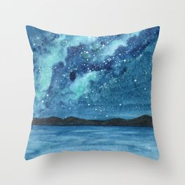"""Sea Glass Galaxy"" watercolor landscape painting Throw Pillow"