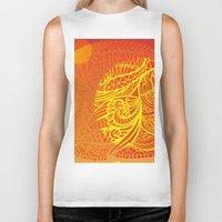 orange pattern Biker Tanks featuring Orange Pattern by RifKhas