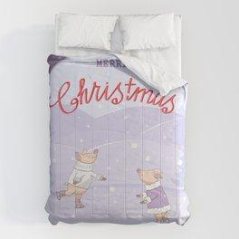 skating couple piggies merry christmas Comforters