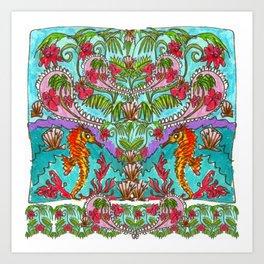 Seahorse Paisley Art Print