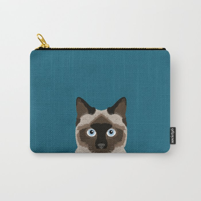 Ezra - Siamese Cat, Cute Kitten Retro Cat Art cell phone case, siamese, cute cat Carry-All Pouch