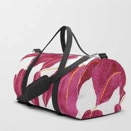Ruby and gold leaves watercolor illustration Duffle Bag