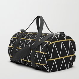 Black and gold zigzag Duffle Bag