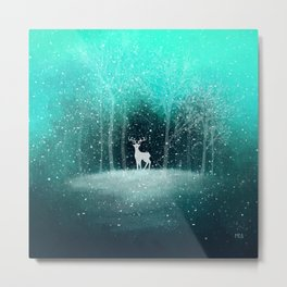 Deer in the Dark Forest Metal Print