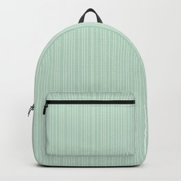 Simple Delicate Unequal Textured Minimalist White Stripes | Misty Jade Color Backpack
