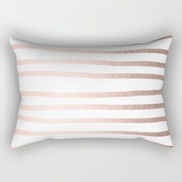 Simply Drawn Stripes Moon Dust Bronze Rectangular Pillow