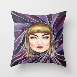 Watercolor Pop Surrealism Chic Artistic Female Portrait Throw Pillow