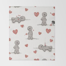 Broken hearted Voodoo Dolls Throw Blanket