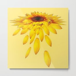 Golden Sunflower Shedding Loose Petals Abstract Metal Print