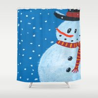 snowman Shower Curtains featuring Snowman by gretzky