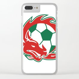 Welsh Dragon Soccer Ball Clear iPhone Case