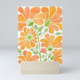 Happy California Poppies / hand drawn flowers Mini Art Print