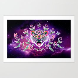 Batik space cat Art Print