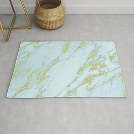 Gold Marble - Shimmery Glittery Yellow Gold Marble Metallic Rug