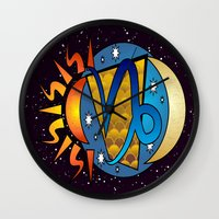 astrology Wall Clocks featuring Astrology, Capricorn by Karl-Heinz Lüpke