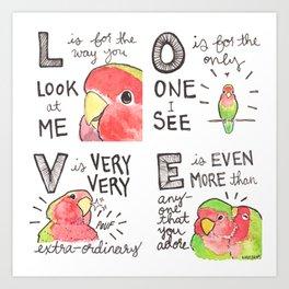 Bird no. 245: L-O-V-E Art Print