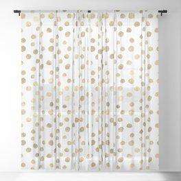 White & Golden Dots Sheer Curtain