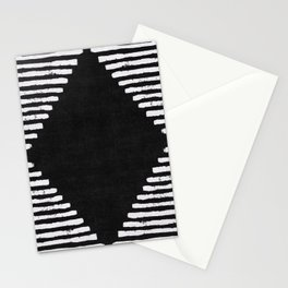 Diamond Stripe Geometric Block Print in Black and White Stationery Cards
