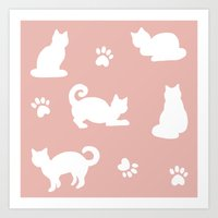 White Cats on Rose Gold Pattern Art Print