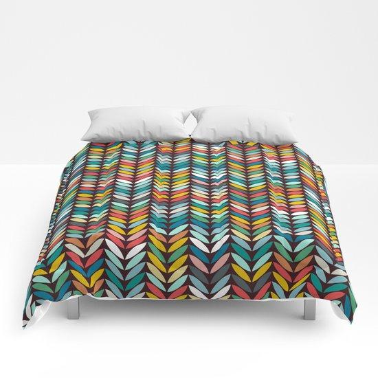 llama leaf arrow chevron dark Comforters