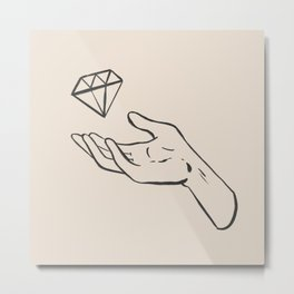 diamond thief white Metal Print