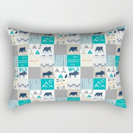 Woodland Cabin Decor Cheater Quilt Navy Aqua Grey Rectangular Pillow