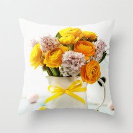 Beautiful spring flowers and Easter decorations Throw Pillow