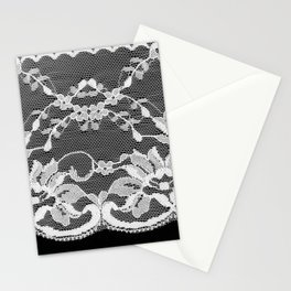White floral lace on a black background. Stationery Cards