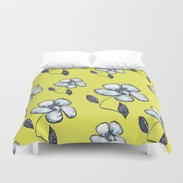 Modern Floral - Yellow Background Duvet Cover