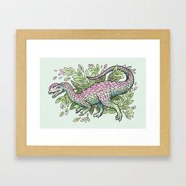 Dilophosaurus Bouquet | Dinosaur Plant Floral Watercolor Framed Art Print
