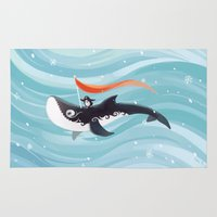 orca Area & Throw Rugs featuring Grandpa Orca by Freeminds