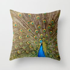 Peacock Spreading Feathers Throw Pillow