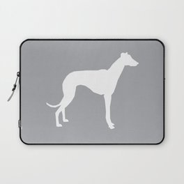 Whippet dog art silhouette dog breed minimal grey and white whippets Laptop Sleeve