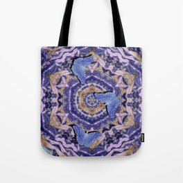Butterflies against an abstract floral kaleidoscope Tote Bag