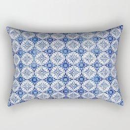 Weathered Traditional Blue Tiles Rectangular Pillow