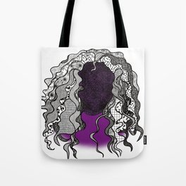Graphic Curly Hair Frizzed Out Lady Tote Bag