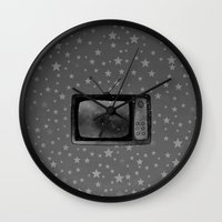 tv Wall Clocks featuring Television by Mr and Mrs Quirynen