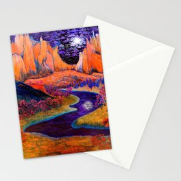 'African Violet Skies' mountains and Serengeti prairie landscape painting by Clark Thomas Carlton Stationery Cards