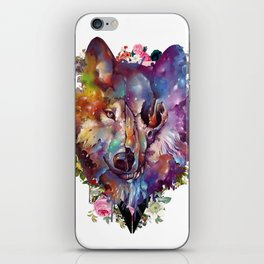 floral wolf skull iPhone Skin