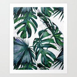 Tropical Palm Leaves Classic on Marble Art Print