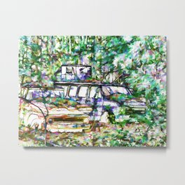 Abandoned cars overrun by nature Metal Print