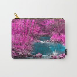 Pink Trees Blue Stream Carry-All Pouch