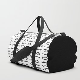 Blink and Kiss: Black on White Duffle Bag